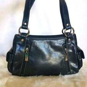 Aurielle Black Leather  Shoulder Bag Purse
